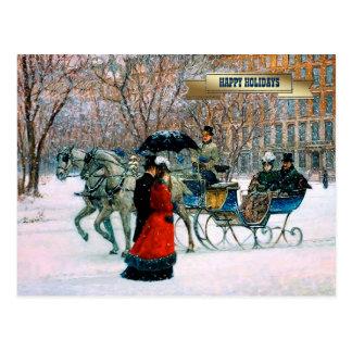 Postales parisienses del navidad del estilo del