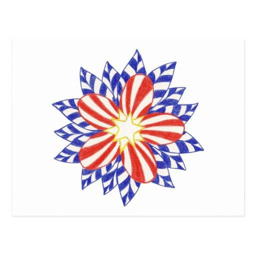 Postales patrióticas de la flor de las barras y