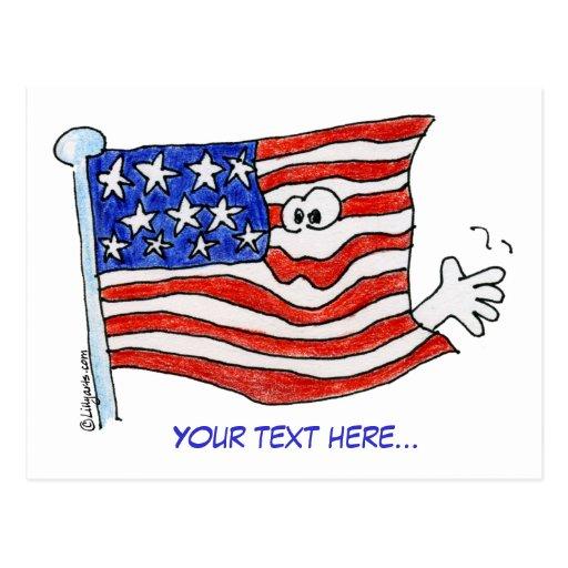 Postales que agitan de la bandera americana del di