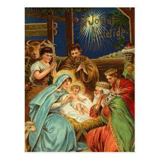 Postales religiosas de la natividad del vintage