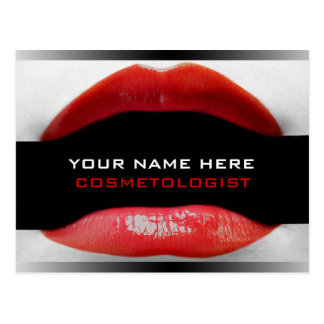 Postales rojas del Cosmetologist de los labios