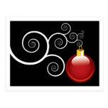 Postales rojas del ornamento del navidad