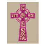 Postales rosadas de la cruz céltica