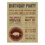Postales rústicas de la fiesta de cumpleaños del B