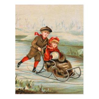 Postales Sledding del invierno del vintage