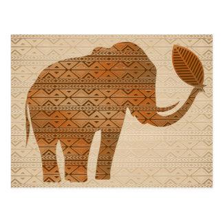 Postales tribales del diseño del arte del elefante
