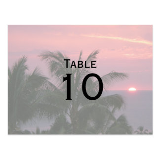 Postales tropicales del número de la tabla del bod