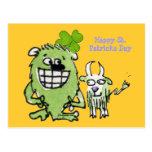 Postales verdes del dibujo animado del trébol de l