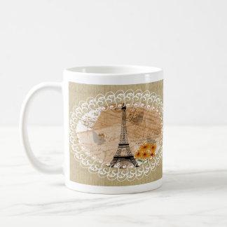 Postales y mapa franceses del vintage de la torre tazas de café