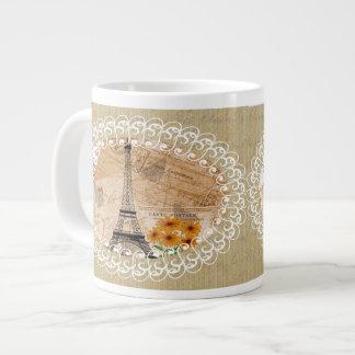 Postales y mapa franceses del vintage de la torre taza extra grande