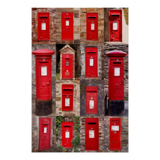 Postboxes of old England Poster