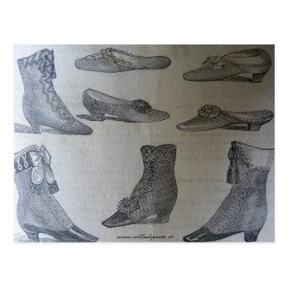 Postcard,19th century fashion illustration - Shoes