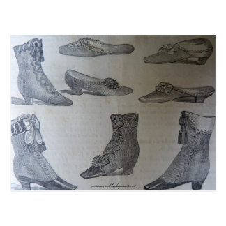 Postcard,19th century fashion illustration - Shoes Postcard