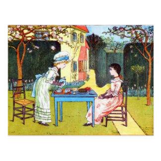 Postcard: 2 Victorian Girls Having Afternoon Tea Postcard
