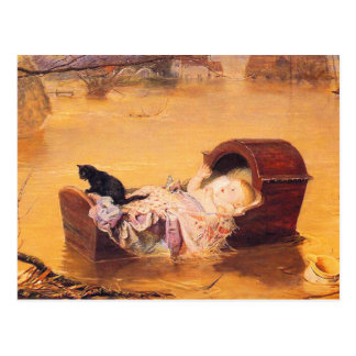 Postcard:  A Flood - with baby and cat Postcard