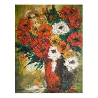Postcard Ann Hayes Painting Red Flowers Mixed