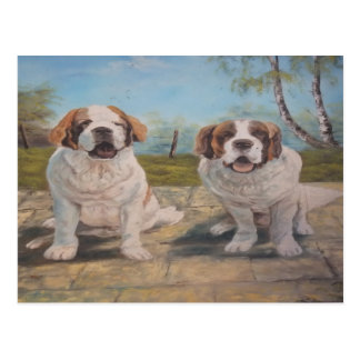 Postcard Ann Hayes Painting Two St Bernards