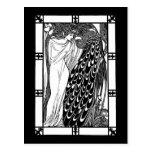 Postcard: Art Nouveau Peacock Artwork - The Kiss
