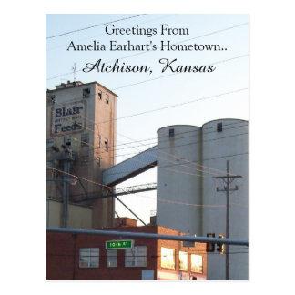 Postcard Atchison Kansas Hometown Amelia Earhart