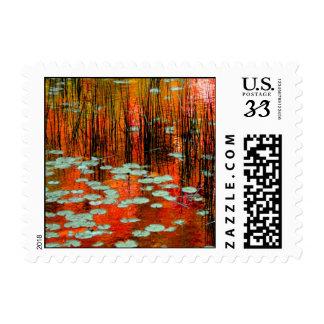 Postcard Autumn Pond Postage Stamp