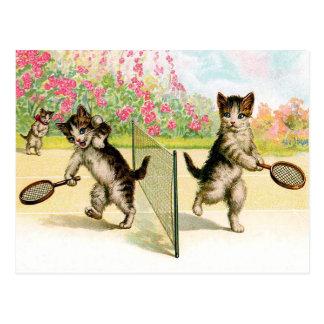Postcard: Badminton Kittens Vintage Art