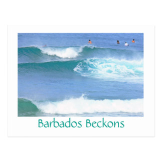 postcard/BARBADOS BECKONS/ CATCHING SOME WAVES IN Postcard