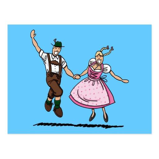 Postcard Bavarian Oktoberfest Couple Dancing