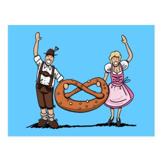 Postcard Bavarian Oktoberfest Couple Pretzel