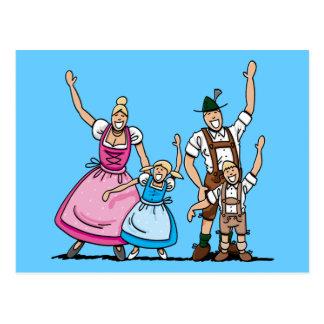 Postcard Bavarian Oktoberfest Family Waving Hands