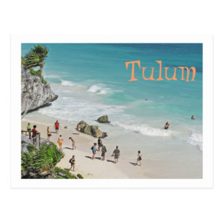 postcard, BEACH BENEATH MAYAN RUINS IN TULUM Postcard