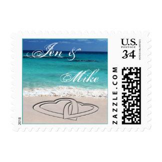 Postcard Beach Wedding Sweethearts Custom Names Postage