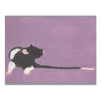 Postcard! Black hooded fancy pet rat painting.