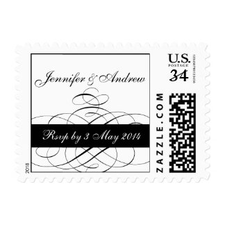 Postcard Black Swirls Wedding RSVP Postage