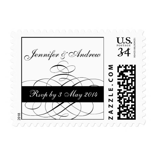 Postcard Black Swirls Wedding RSVP Postage