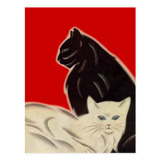 Postcard Black & white Cats on Red Art Deco Style