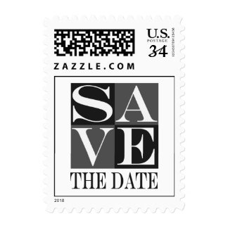 Postcard Black White Save The Date Postage