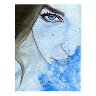 Postcard blue watercolor female portrait