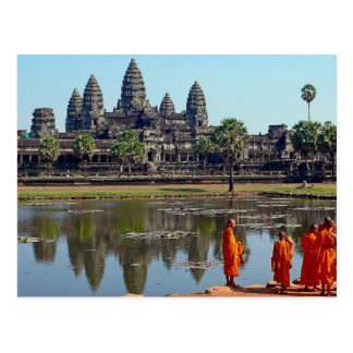 Postcard Buddhists in Angkor Wat, Cambodia