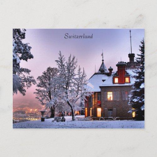 Postcard Castle City Lights In Lucerne Switzerland postcard