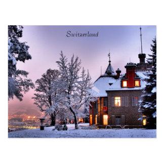 Postcard Castle City Lights In Lucerne Switzerland