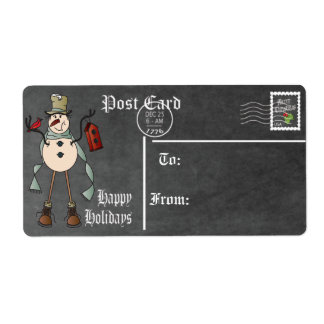 Postcard, Chalkboard Snowman Gift Tag -Blue Label