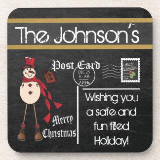 Postcard Chalkboard Snowman Vintage Beverage Coaster