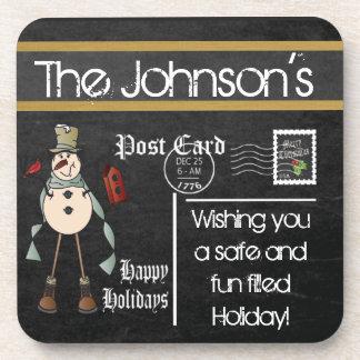 Postcard Chalkboard Vintage | Christmas Beverage Coaster