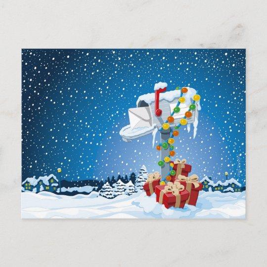 Christmas Mailbox.Postcard Christmas Mailbox Gift Boxes Snow