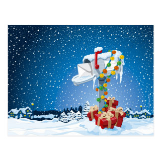 Postcard Christmas Mailbox Gift Boxes Snow