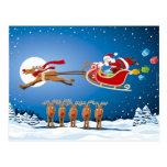 Postcard Christmas Santa Sleigh Reindeer