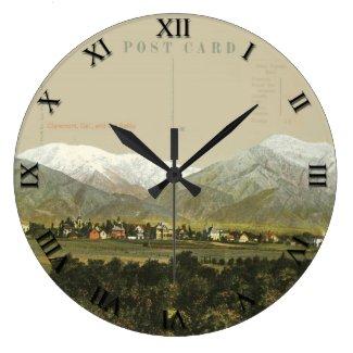 PostCard Clock - Claremont CA & Old Baldy Mountain