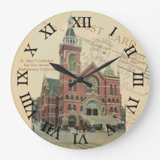postcard clock - sanfrancisco st marys cathredral