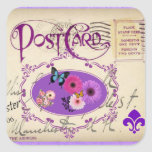 Postcard Collage Pink Purple Floral and Butterfly Stickers