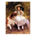 Postcard: Collie Dog, Girl and Cat